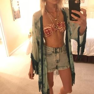 Urban Outfitters Sweaters - Urban Outfitters - Blue Tie-dye Fringe Kimono